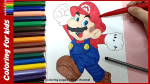 coloring pages and drawing of mario and sonic for kids video for