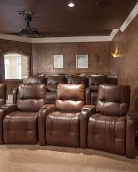 basement media room home theater rustic with contemporary seating