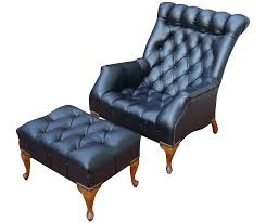 Mid Century Leather Chairs Sold Mid Century Tufted Black Leather Chair U0026 Ottoman U2013 Abby Essie