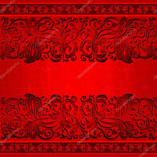Invitation Card Stock Vintage Vector Ornamental Background Neon Red Color Antique