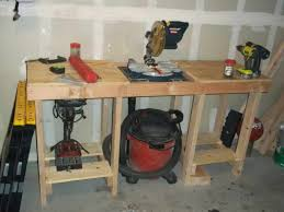 workbench with space under saw to connect shop vac brilliant