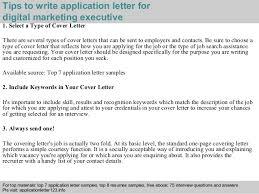 digital marketing executive application letter