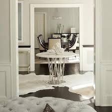 White Foyer Table Center Of Foyer Table With White Cowhide Rugs Shana