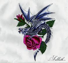 dragons and roses tattoos dragon with roses by tattoos