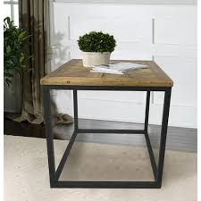 reclaimed wood end table industrial reclaimed wood square end table dmt 088 the home depot