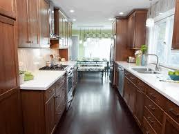 Vintage Galley Kitchen - galley kitchen layout laminate oak wood flooring vintage wall
