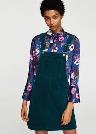 corduroy pinafore dress women mango usa