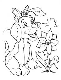 Dog Coloring Pages With Flower And Butterfly Coloringstar Coloring Page Dogs
