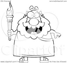 cartoon clipart of a black and white happy senior greek man
