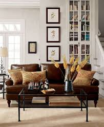 Brown Leather Sofa Living Room White Paint Wall Cube Bookcase Combine Pottery Barn Living Room