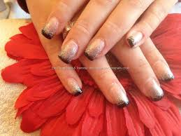 acrylic nails with black tips and silver glitter hair u0026 beauty