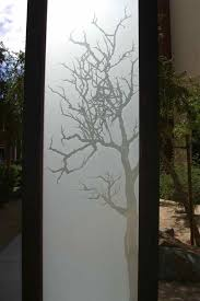 etched glass doors winter tree 3d etched glass doors rustic decor
