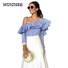 blouse ruffles 2018 one shoulder ruffles blouse shirt tops 2016 autumn