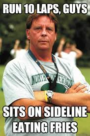 Notre Dame Football Memes - run 10 laps guys sits on sideline eating fries sadistic football