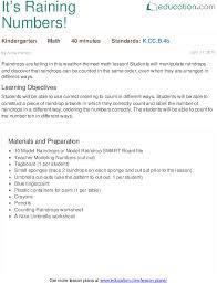 it u0027s raining numbers lesson plan education com