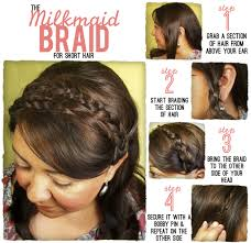 how to braid short hair step by step the style dossier milk maid braids for shorter hair