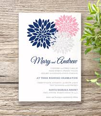 wedding invitation set navy blue pink wedding invitation set flowers connie joan