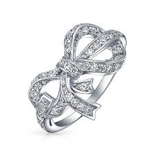 bling ribbon pave cubic zirconia 925 sterling silver ribbon bow ring