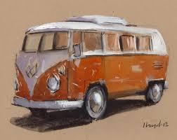 volkswagen van hippie art print car painting vw van hippie geekery 5x7 on 8x10 orange