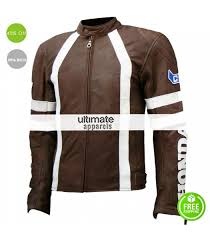 motorcycle racing jacket honda brown with white stripes motorcycle racing jacket