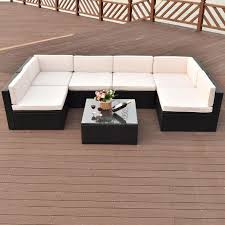 costway 7 pcs patio rattan wicker furniture set sectional seat