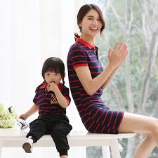 fashion summer family clothing striped casual matching family set