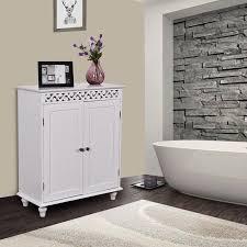 gymax white wooden 2 door bathroom cabinet storage cupboard 2