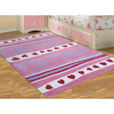 Colorful Kids Rugs by Hearts And Stripes Pink Childrens Floor Rugs Free Shipping