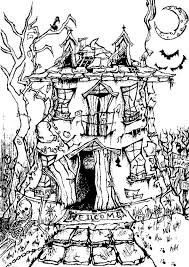 coloring page halloween manor house halloween coloring