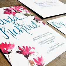 Wedding Invitations Cards Uk Watercolour Floral And Calligraphy Wedding Invitation By Feel Good
