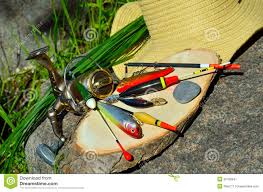 fishing tackle with wicker basket and hat stock image image