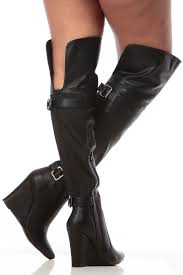 s boots wedge black faux leather pointed toe thigh high wedge boots cicihot