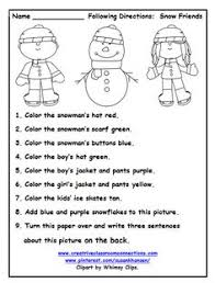 free following directions with snowmen and color words other