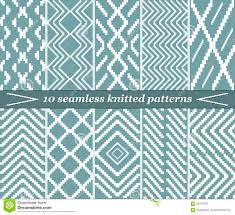 10 seamless knitted patterns in blue grey color stock vector
