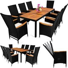 8 Seat Patio Dining Set - poly rattan garden furniture table and chair set 8 seater outdoor