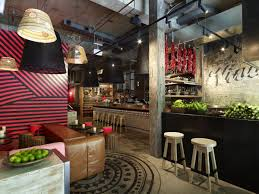 fast casual restaurant design ideas with unique ceiling wood and