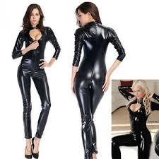 zipper jumpsuit s clubwear faux leather crotch zipper catsuit pvc