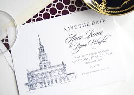 wedding save the dates independence philadelphia skyline save the date cards