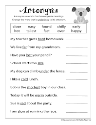 Synonyms For Light Reading Worksheets Antonyms And Synonyms Antonym Worksheet