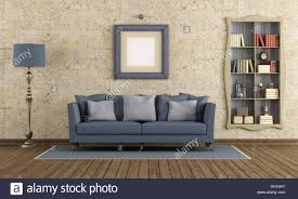 Retro Living Room Furniture by Retro Living Room With Elegant Sofa And Bookcase On Stone Wall