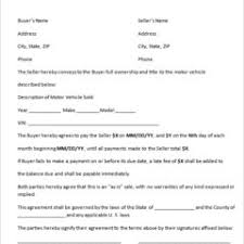purchase agreement template for the sale of used motor vehicle