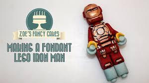 making a fondant lego iron man how to cake tutorial youtube