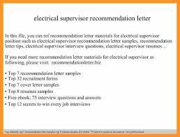 Electrical Supervisor Resume Sample Supervisor Letter Of Recommendation Bio Letter Format