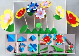 membuat hiasan bunga dari kertas lipat bunga kertas bertangkai sedotan