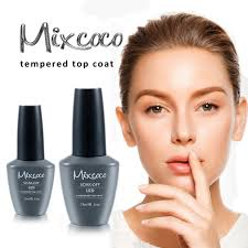 mixcoco tempered top gel nail enamel stable high glossy top coat