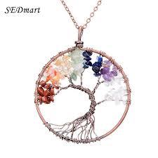 turquoise crystal pendant necklace images Sedmart 7 chakra tree of life pendant necklace copper rose quartz jpg