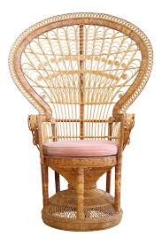 Vintage Rattan Patio Furniture - vintage rattan and wicker peacock chair chairish