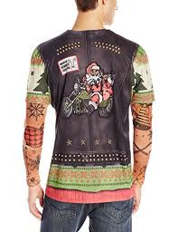 faux real men u0027s biker ugly x mas sweater with tattoos t shirt and