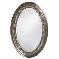Oval Bathroom Mirrors Brushed Nickel 31 In X 21 In Brushed Nickel Notched Oval Framed Mirror 21116