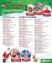 abc family 25 days of christmas countdown printable schedule abc